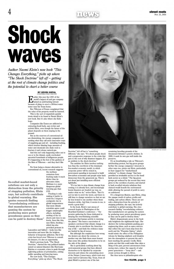 <br>Big Issue North's Naomi Klein interview in Street Roots