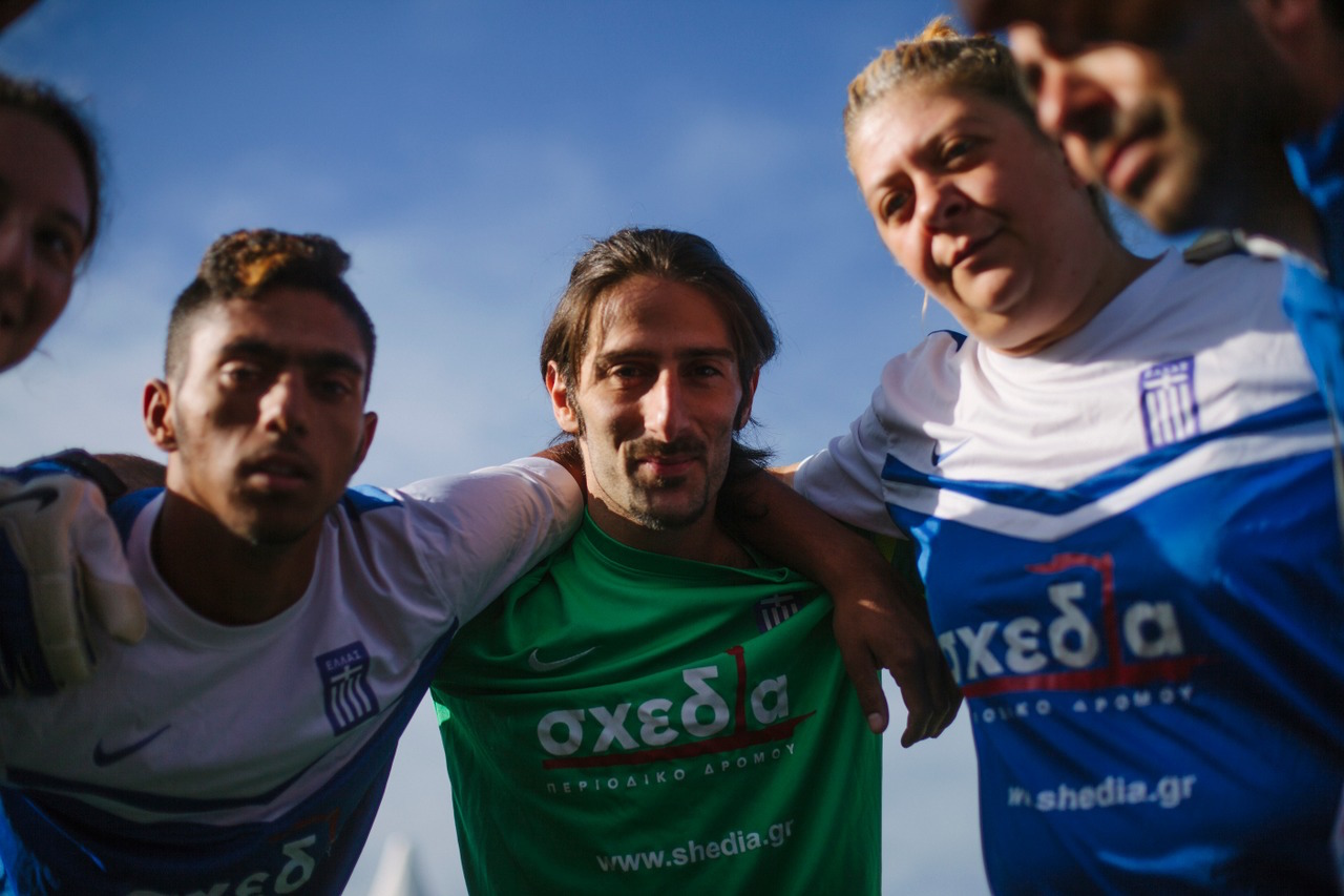 Greece huddle before their final match at the Homeless World Cup. Photo: Alex Walker