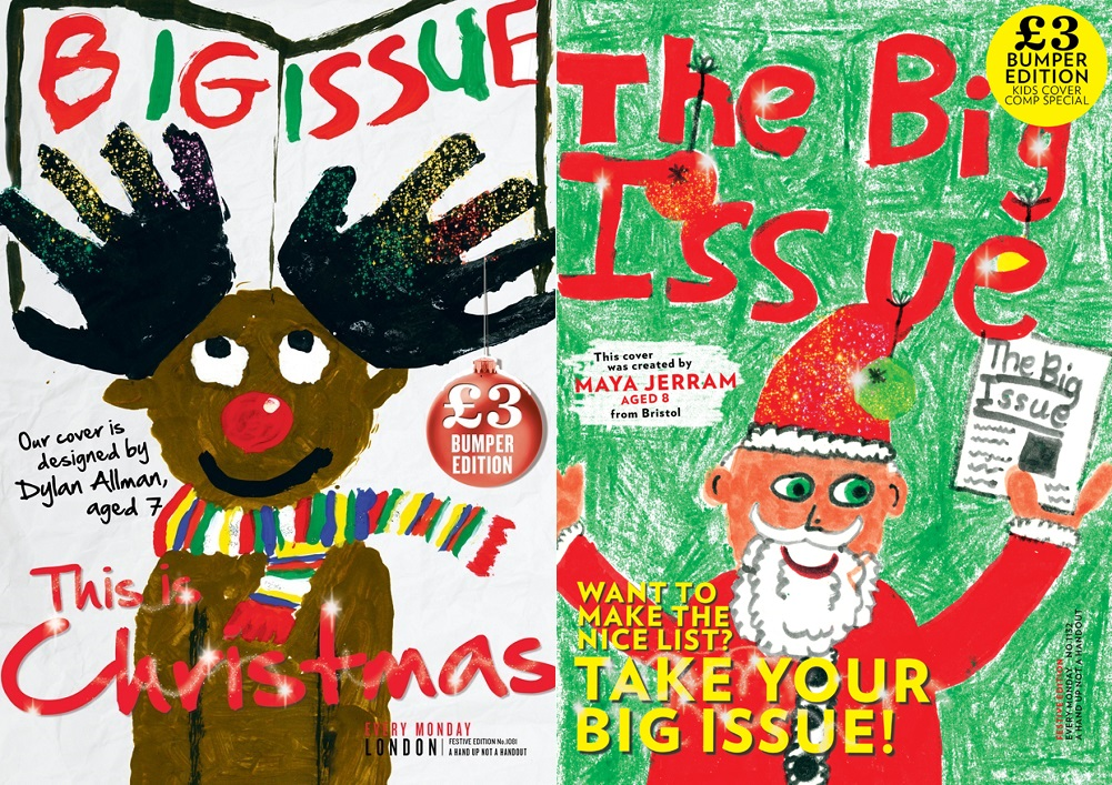 The Big Issue's Christmas covers from 2013 and 2014