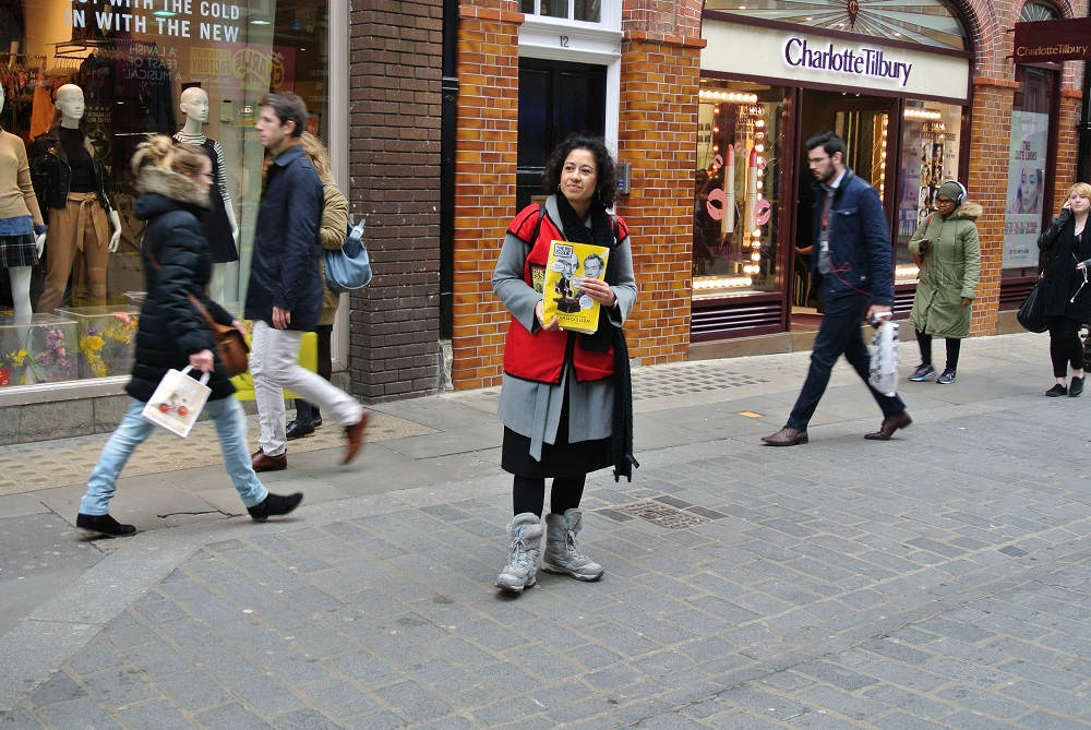 Samira Ahmed selling The Big Issue in Covent Garden. Photo: Laura Kelly