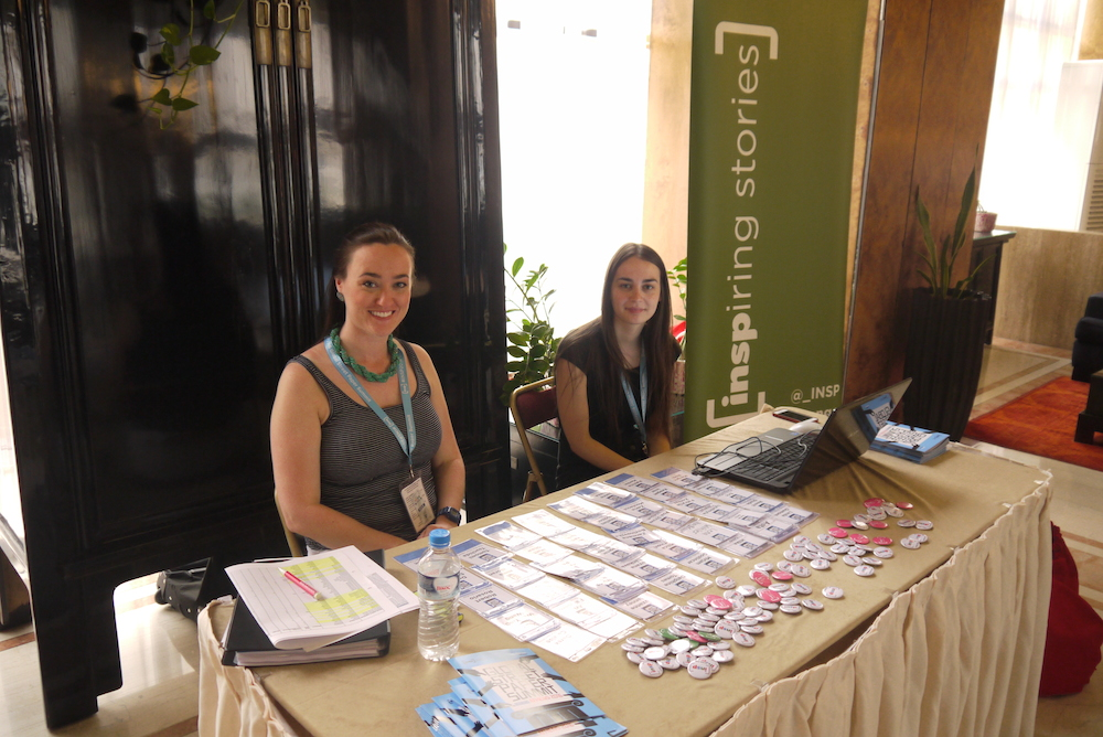 Zoe Greenfield and Natasha eagerly wait for delegates to arrive on the first day of our Global Street Paper Summit. Photo by: Alison Gilchrist