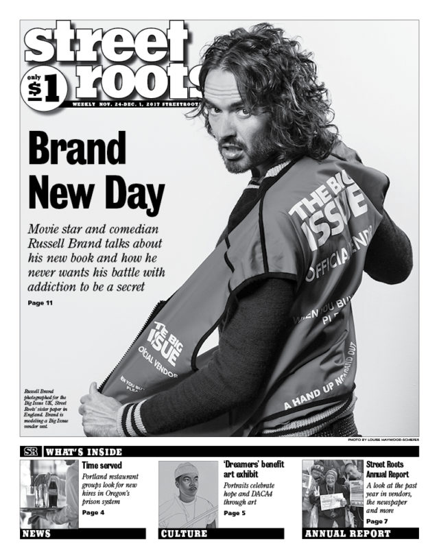 <br>The Big Issue (UK)'s Russell Brand interview as the cover story of Street Roots (USA)