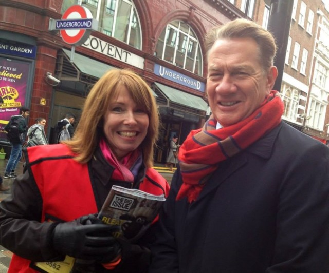 Kay Burley sells a Big Issue to Michael Portillo<br>