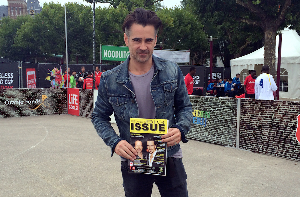 Colin Farrell poses with a copy of Irish street paper Ireland's Big Issue at the Homeless World Cup in Amsterdam. Photo: Laura Smith