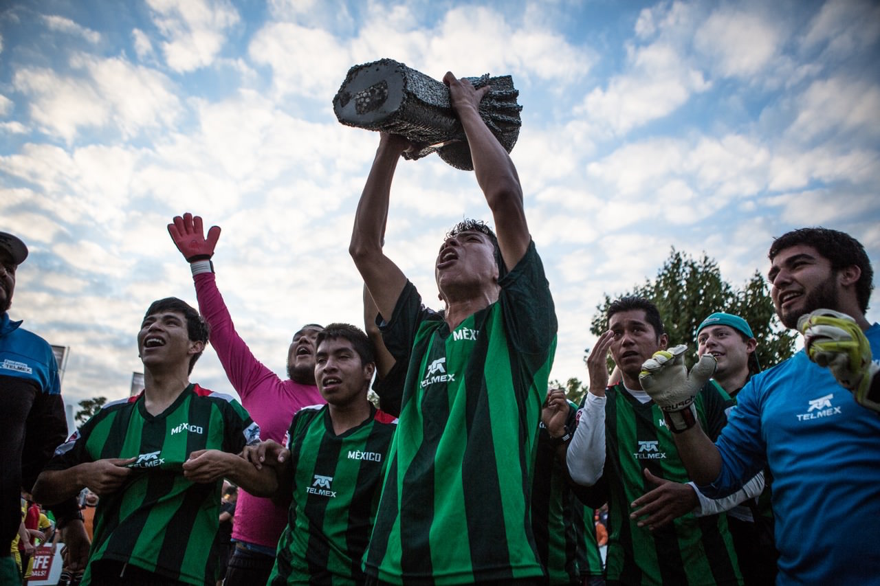 Mexico win the Men's Homeless World Cup final in Amsterdam 2015. Photo: Alex Walker