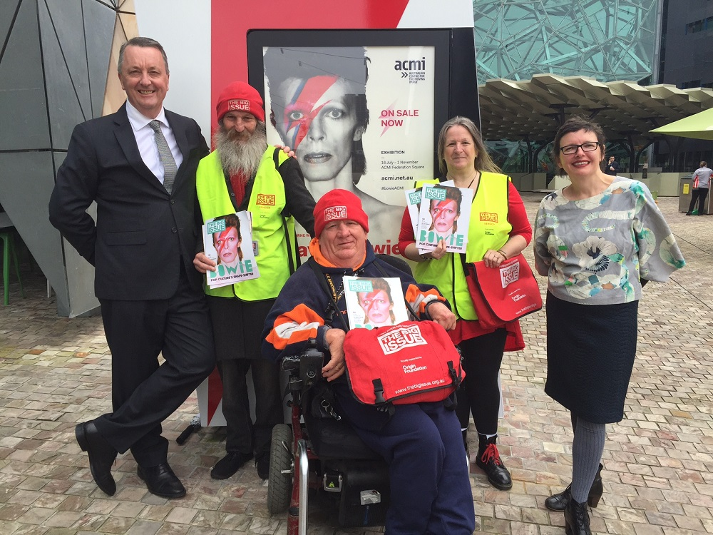 Victorian Housing Minister Martin Foley and ACMI CEO Katrina Sedgwick meet vendors Russell, Rob and Cheryl