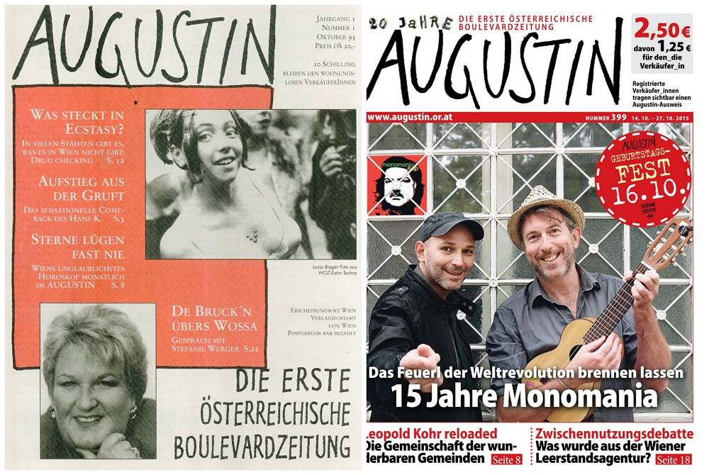 Augustin covers 1995 (L) and 2015 (R).
