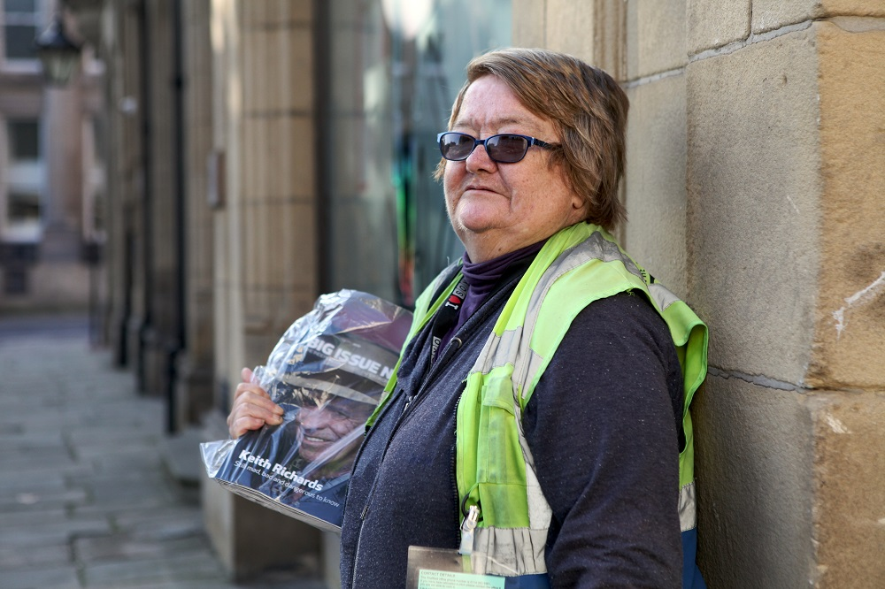 Carol sells Big Issue North in Sheffield. Credit: Christian Lisseman