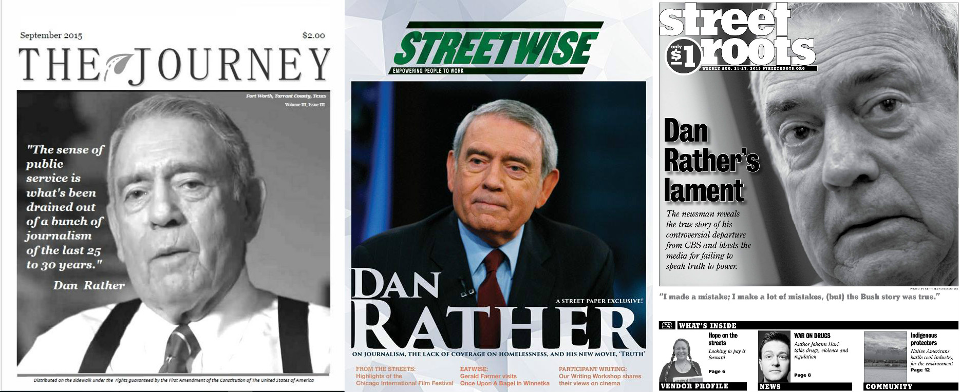 Dan Rather appears on three street paper covers