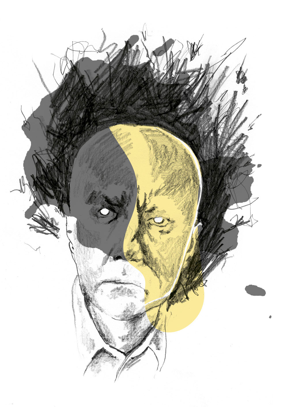 Illustration of Irvine Welsh by Sylvia Stølan for Sorgenfri