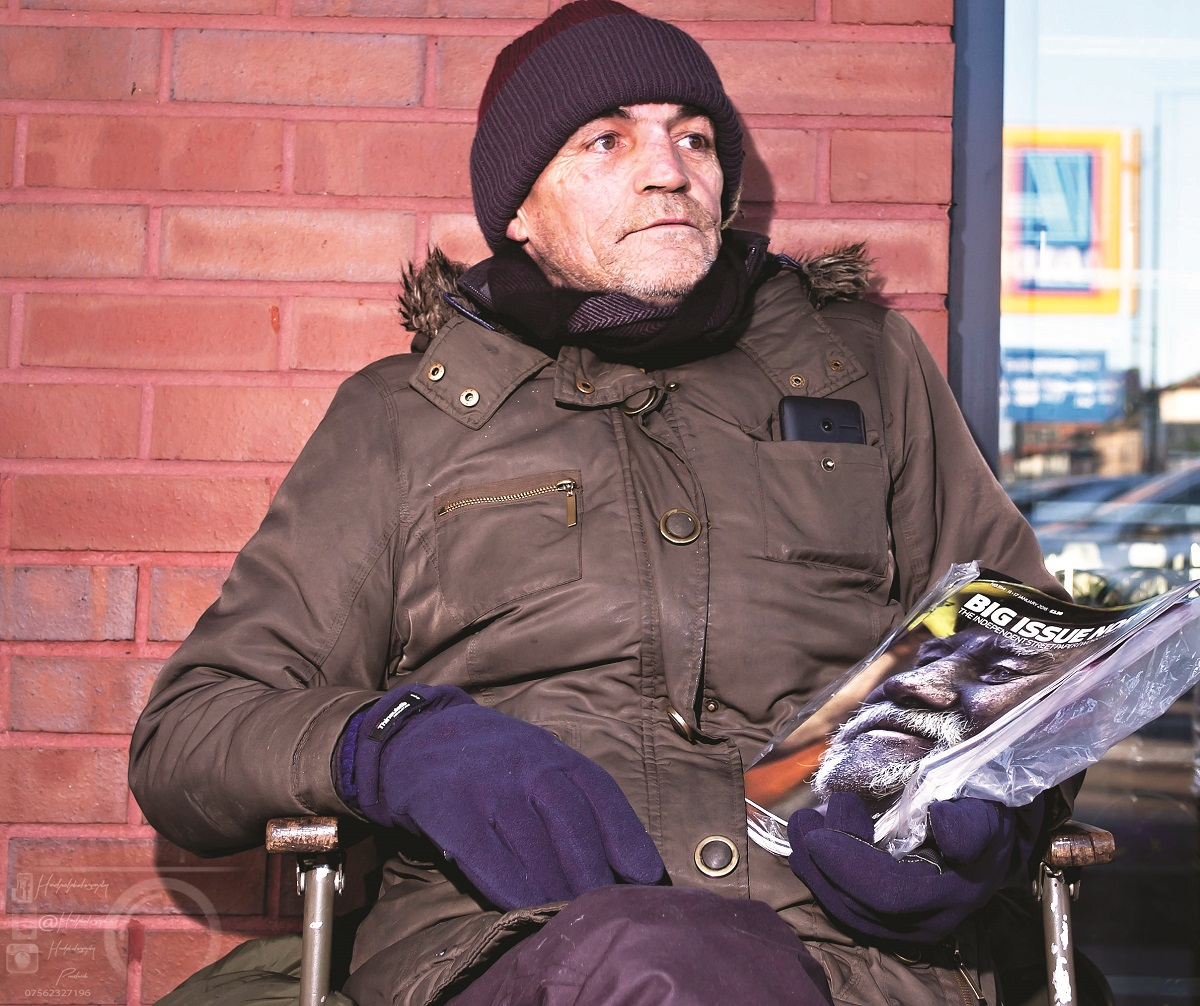 Alan sells Big Issue North in Preswich, Manchester. Photo: John Holt