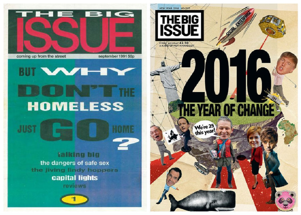 (L) The Big Issue's first cover from 1991 and its 2016 New Year edition (R).