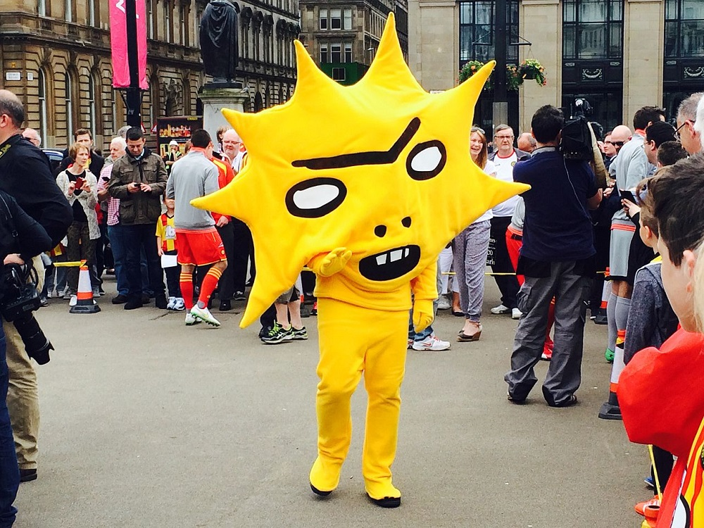 """KingsleyMascot"" by Andrew Hendo - Taken at a media event in Glasgow."