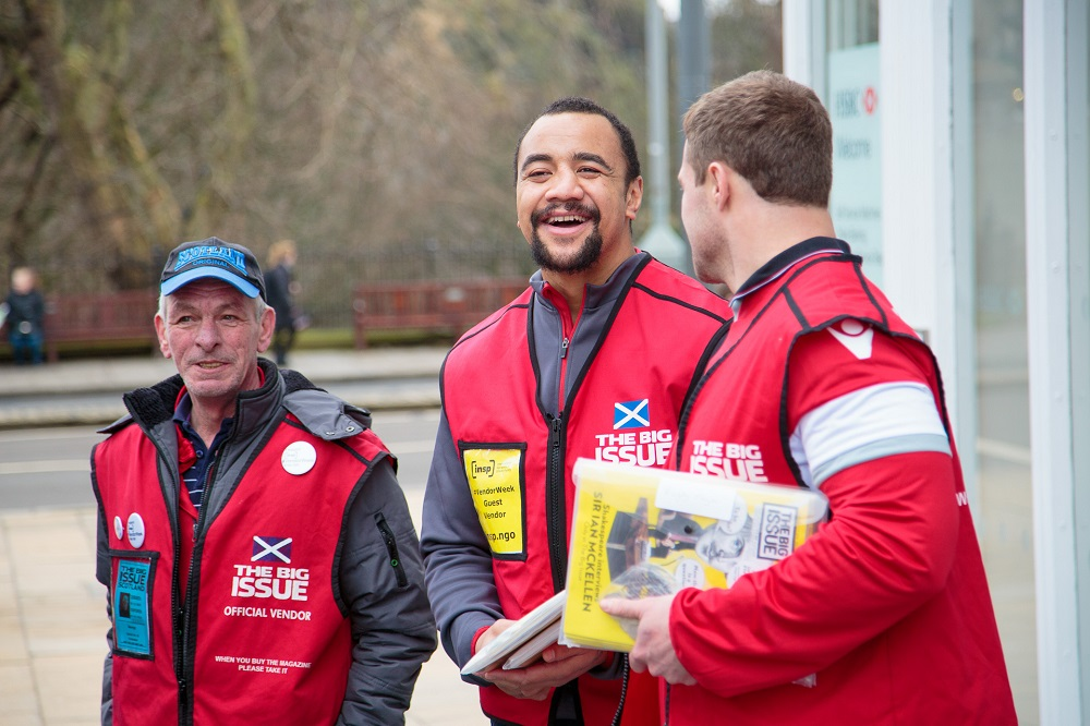 Edinburgh Rugby stars Nasi Manu and Allan Dell sell The Big Issue in Edinburgh with vendor George PHOTO: Euan Ramsay