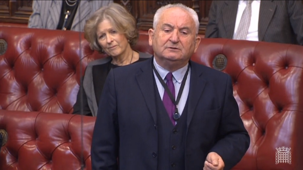 John Bird addresses the Lords, courtesy of Parliament TV