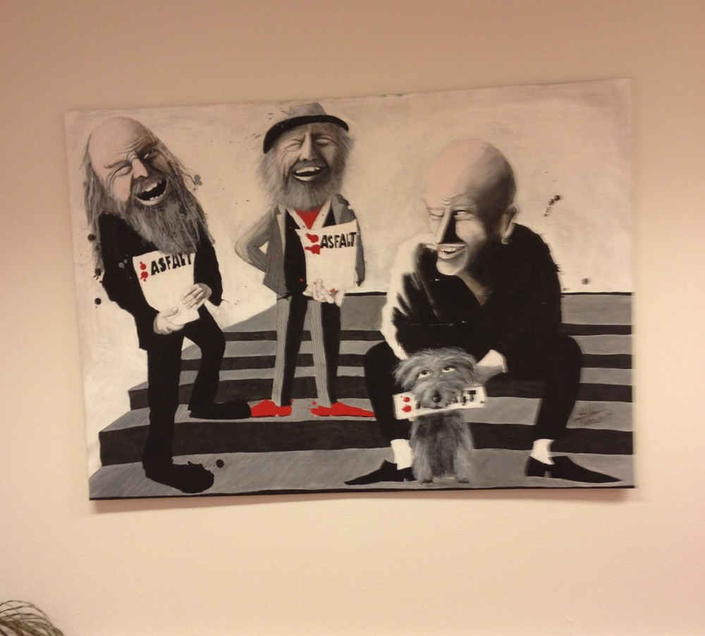 Artwork of vendors in the Asfalt office. Photo: Alison Gilchrist