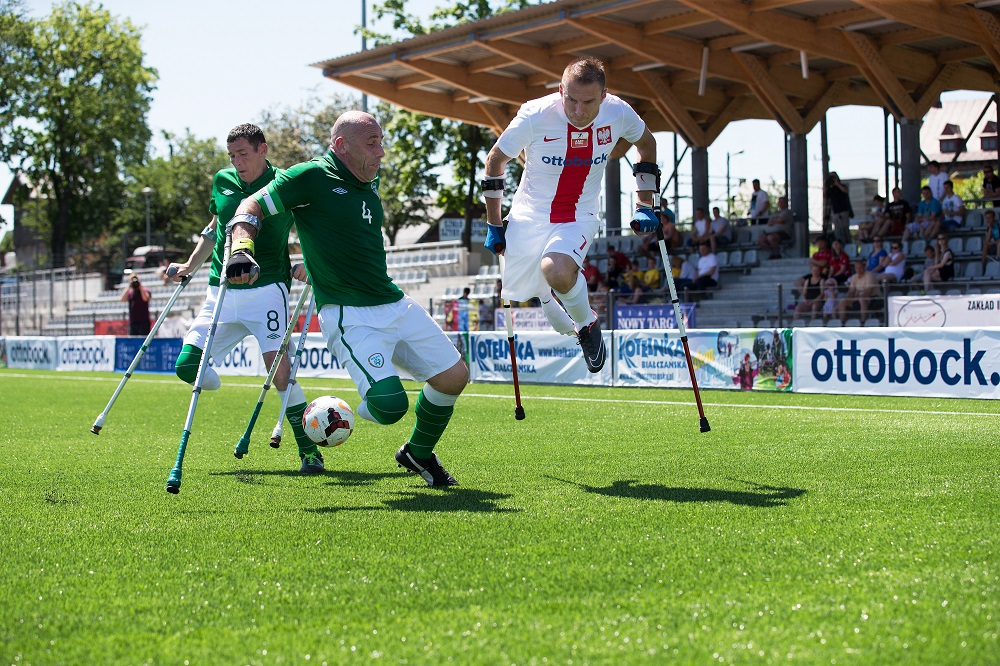 National amputee football teams from Poland and Ireland prove how competitive the sport can be. Credit: Inge Hondebrink