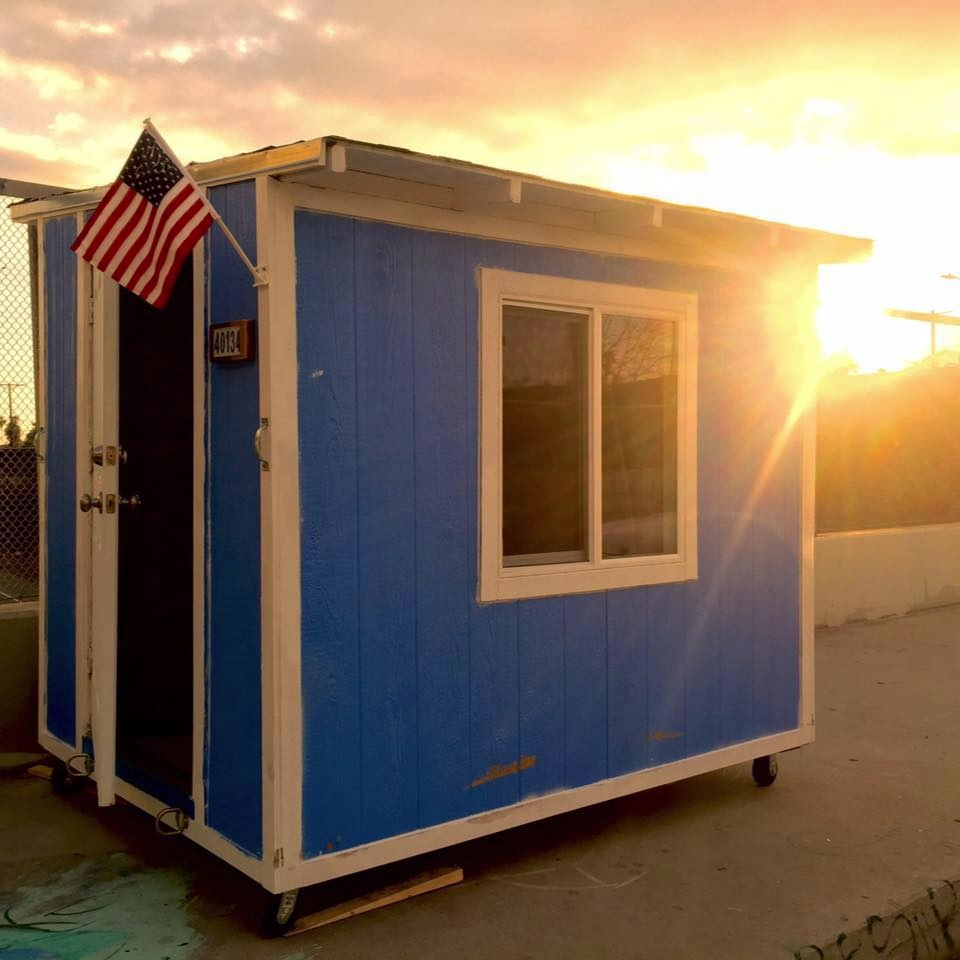 A Tiny House in LA, designed to give shelter to homeless people. Photo Facebook Mythpla