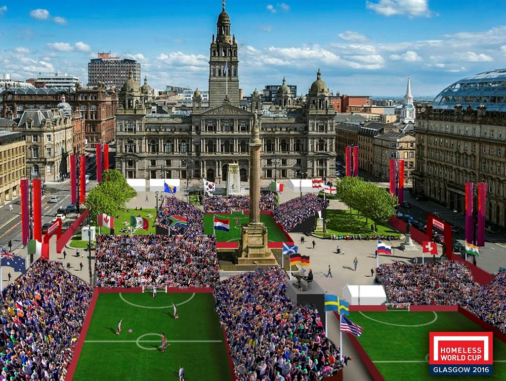 Artist's impression of Homeless World Cup tournament grounds in Glasgow's George Square this July.