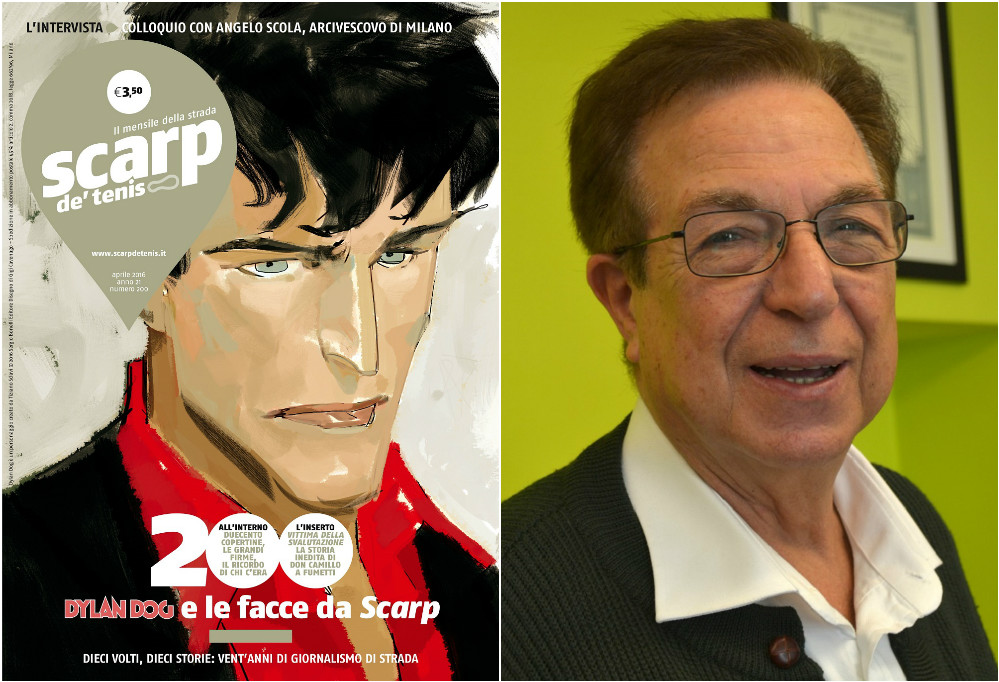L: Scarp de' tenis celebratory front cover features Dylan Dog, the main character in a very popular Italian horror comic series. R: Antonio Mininni