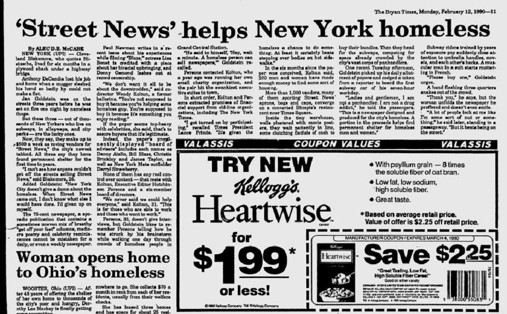 Bryan Times report on Street News from February 1990.