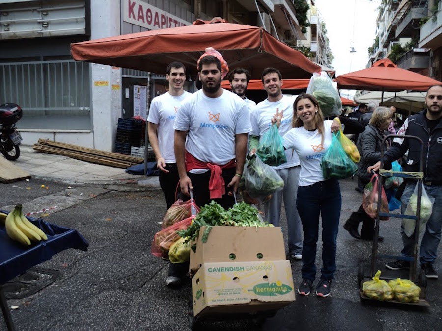 A group from Boroume collect food in Athens.