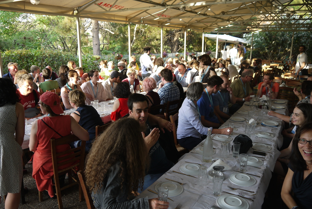 The perfect end to a great arrivals day at the INSP Summit. Delegates sat down to a traditional taverna dinner. Photo by Alison Gilchrist