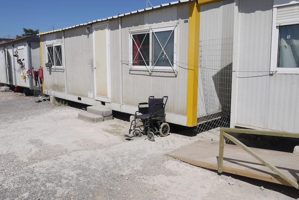 A section of Eleonas Refugee Camp provides shelter for vulnerable people, including those with disabilities. Photo by Alison Gilchrist