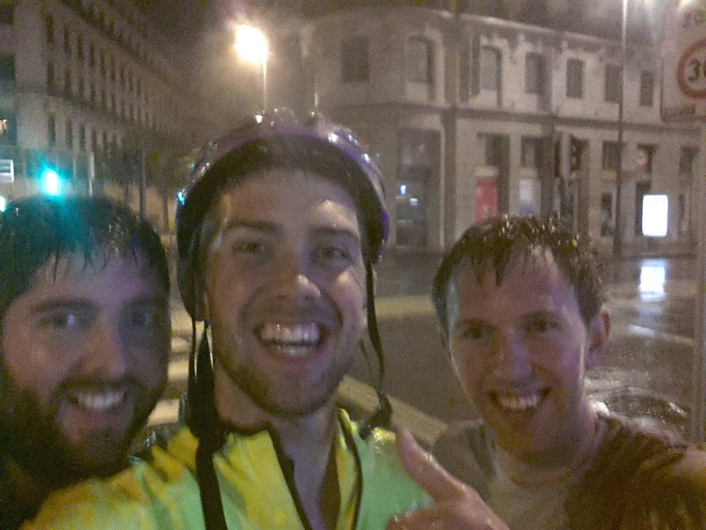 Cycling through the rain in Lyon