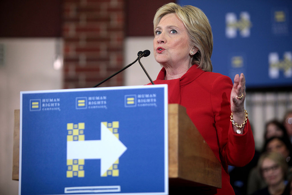 Hillary Clinton speaking at a rally in Iowa. Photo: Gage Skidmore