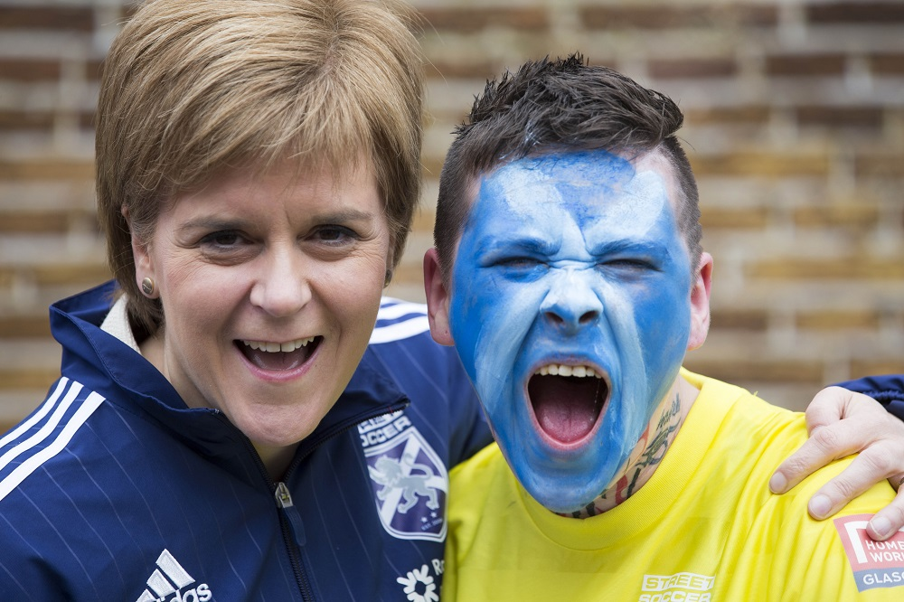 Nicola Sturgeon meets Scottish women's team goalie Krissii Rodgers Photo: Homeless World Cup