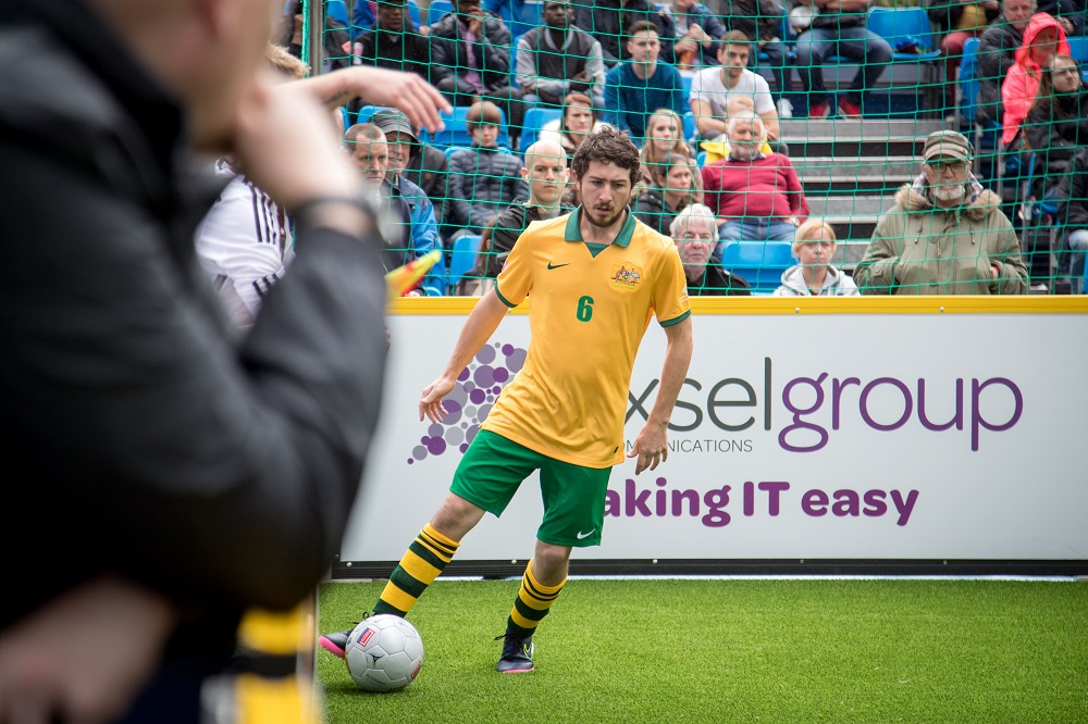 Match action from Germany vs Australia at the Homeless World Cup. Credit: Anita Milas / Homeless World Cup