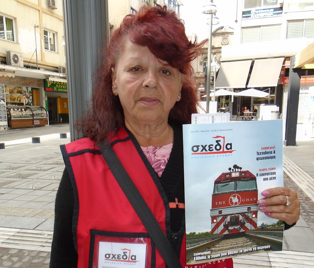 Shedia vendor Stella Mavridou will compete in the Homeless World Cup. Photo: Shedia