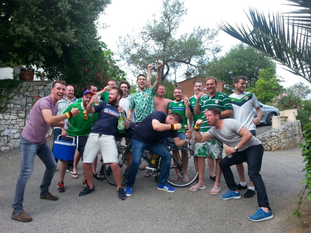 Stephen Collins with the Green and White Army in Nice