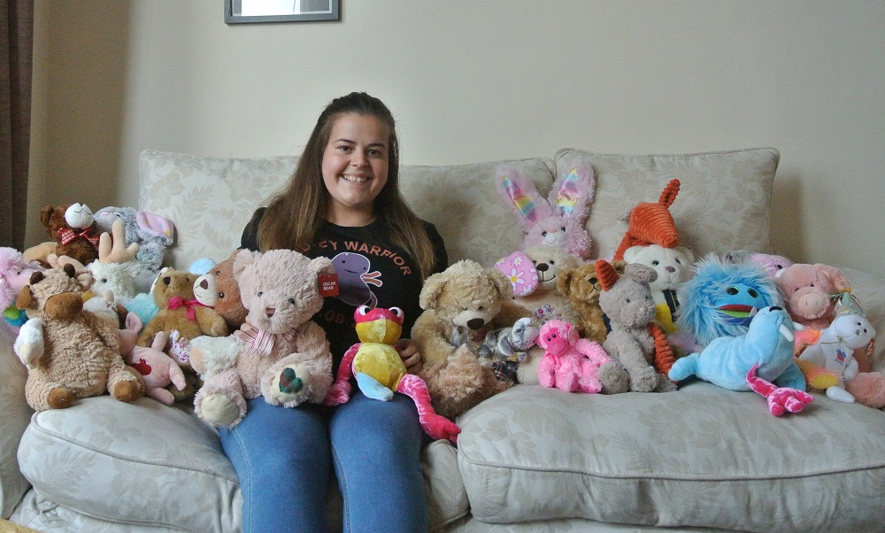 Chloe Knott at home in Glasgow surrounded by the latest batch of Transplants Toys which sold out online within hours of being onsale