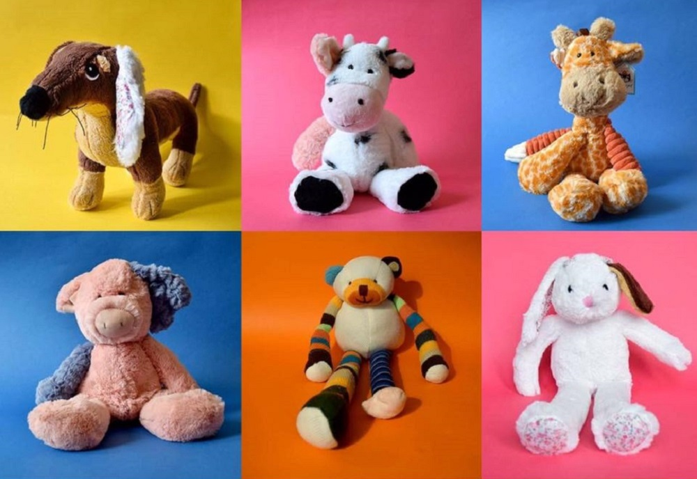 A collection of Transplant Toys which have received new ears, legs and arms from other toys, giving them a second chance at life