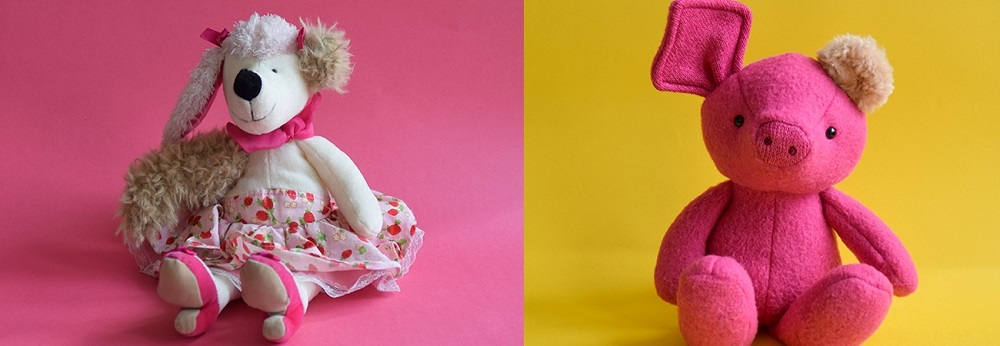 Lucy Knott creates the photography for each of the Transplant Toys clearly showing where they've received a 'donation' from another toy