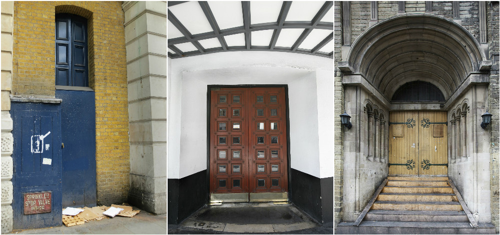 Doorways to the past. Bekki's photos show places she used to sleep or sell The Big Issue. Photos: Bekki Perriman