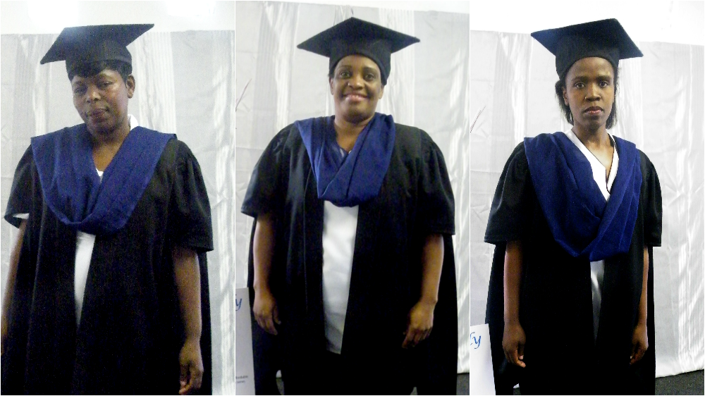Big Issue South Africa vendors Siphokazi Mogobiane , Nondinaye Tyalisi and Thandeka Swartbooi and pictured on graduation day at Kayamandi Nursing College in Wynberg, Cape Town.