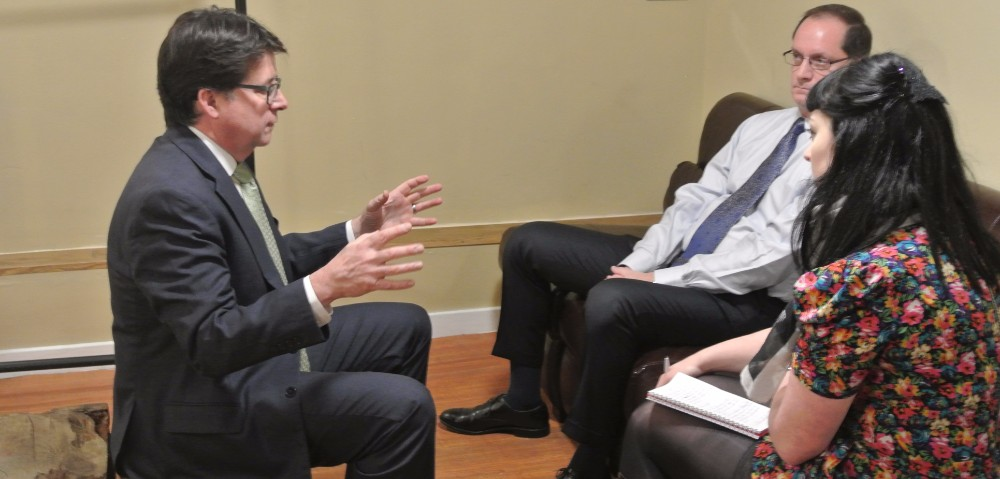 Dean Strang and Jerry Buting speak to INSP's Laura Kelly. Credit: Zoe Greenfield / INSP