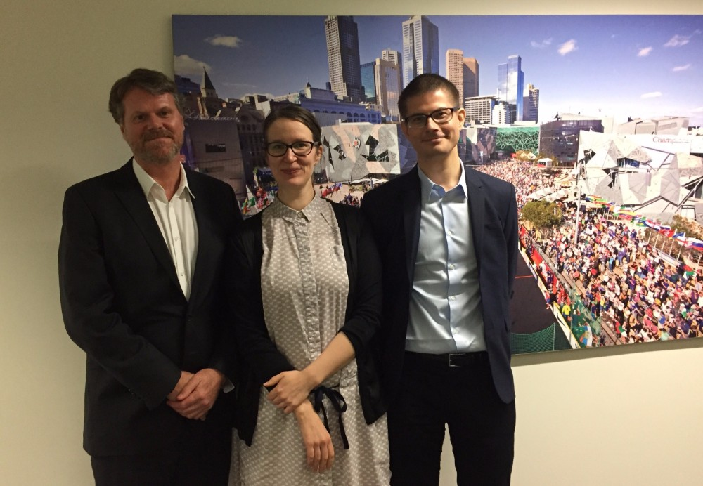 Hannele Huhtala and Janne Hukka from Iso Numero with The Big Issue Australia CEO Steven Persson.