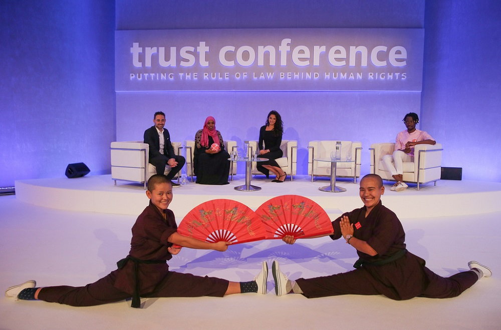 The Kung Fu Nuns perform at Trust Conference (Credit: Thomson Reuters Foundation)