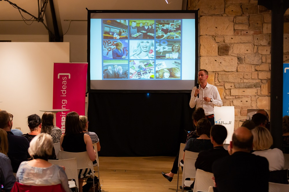 Will Tyler-Greig speaks to the audience at the INSP Talks. Credit: Jack Donaghy