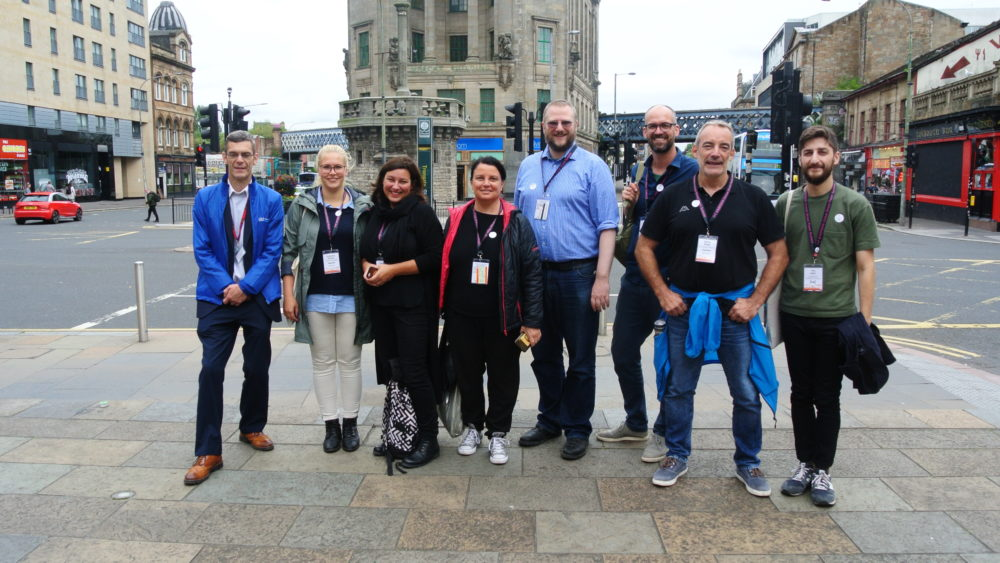 German language delegates (and INSP's editorial officer Tony Inglis, far right) at the end of their Invisible Cities tour, with tour guide Paul