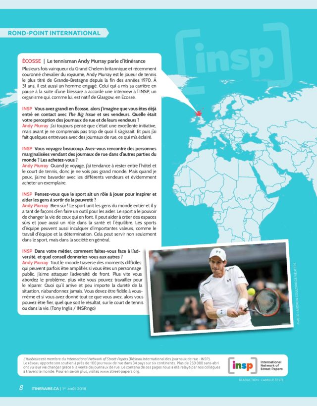 <br>INSP's exclusive chat with tennis star Andy Murray in L'Itinéraire (Canada)