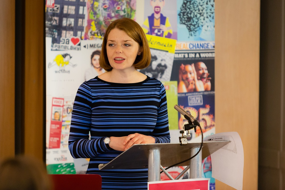 Suzanne Fitzpatrick speaking at the 2018 INSP Global Street Paper Summit. Credit: Jack Donaghy
