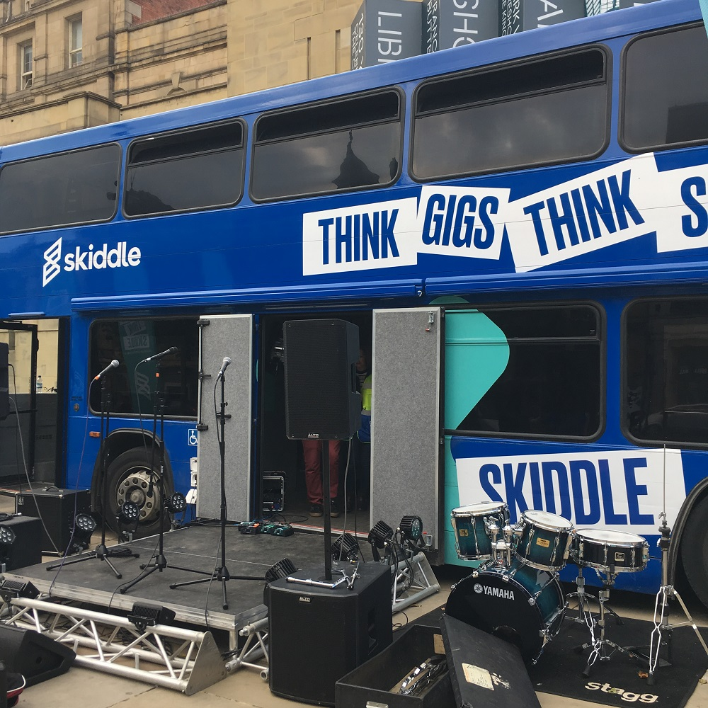The Big Busk bus, provided by ticketing outlet and events guide Skiddle, all set up for a day of music in Leeds