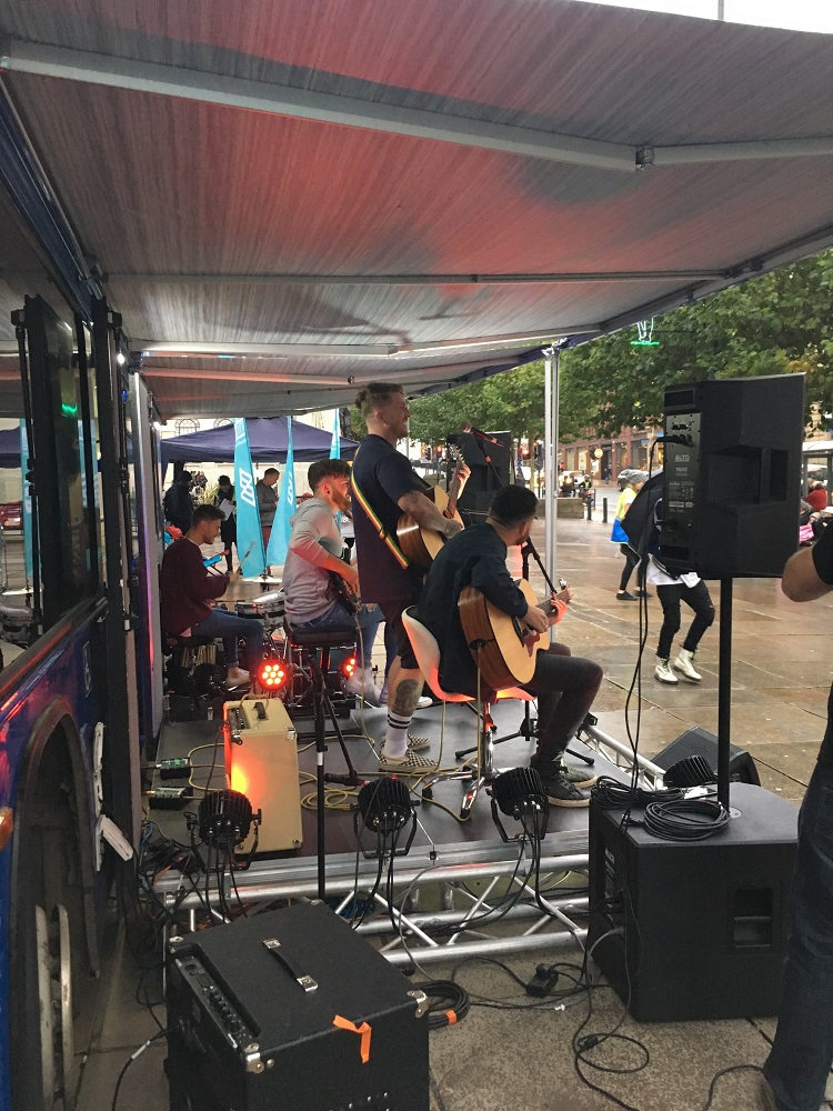 A turn in the weather doesn't dampen the spiritis of performers Y.O.U.N.G, who were present at every day of the Big Busk