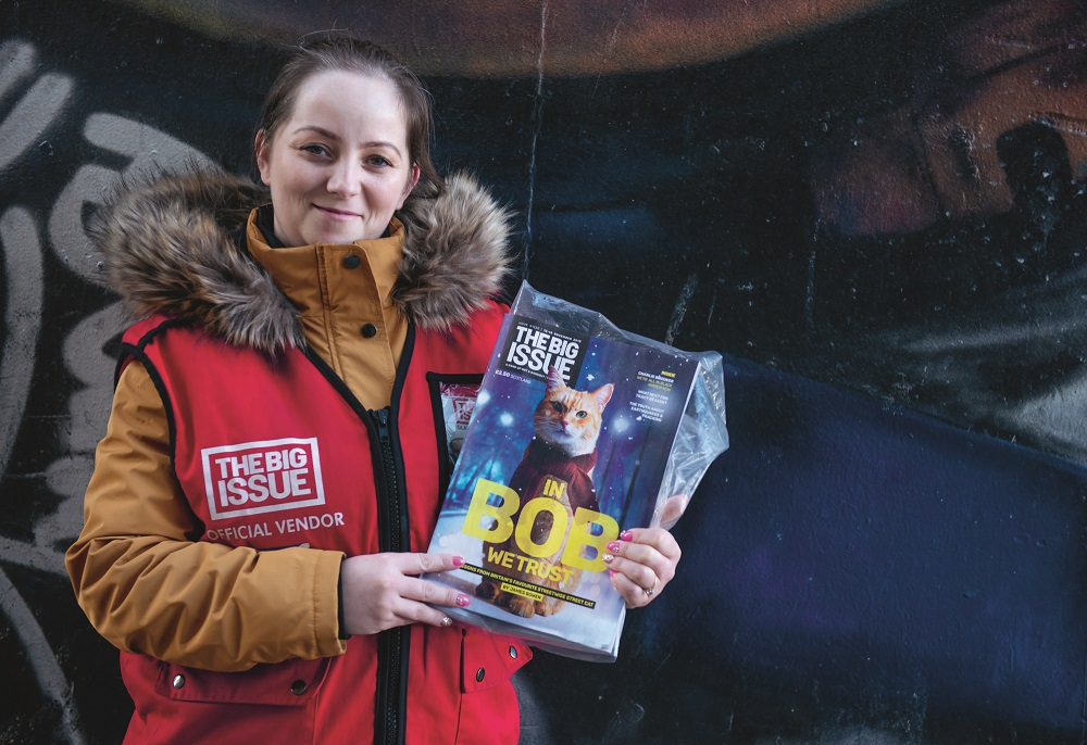 The Big Issue (UK) vendor Brigitta Claudia. Credit: Jamie McFadyen