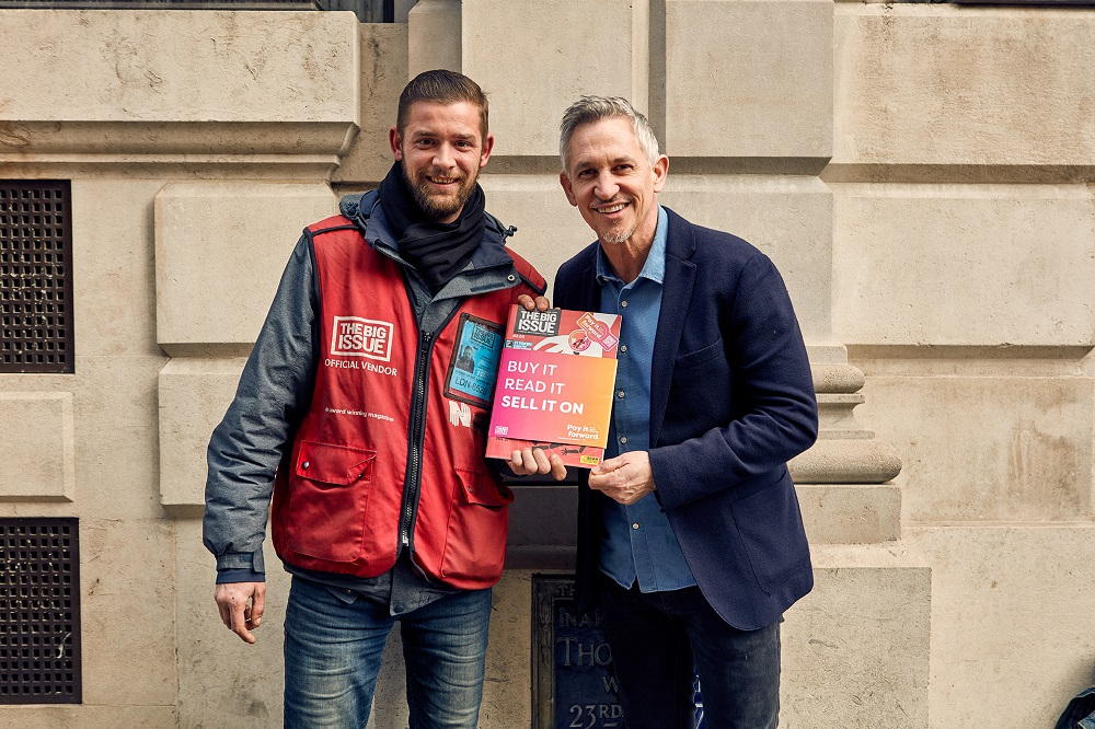• Aaron Dunn, Big Issue vendor with Gary Lineker, who is lending his support to the launch of Pay It Forward, a new system which turns The Big Issue into the world's first resellable magazine. (Credit: The Big Issue)